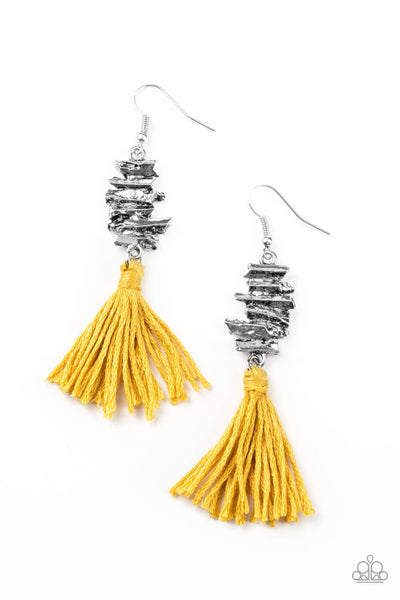 Paparazzi Tiki Tassel - Yellow Fringe Earrings - Princess Glam Shop