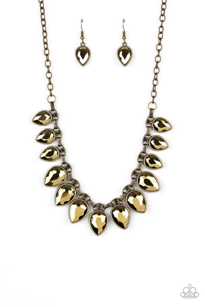 Paparazzi FEARLESS is More Necklace Set - Brass - Princess Glam Shop