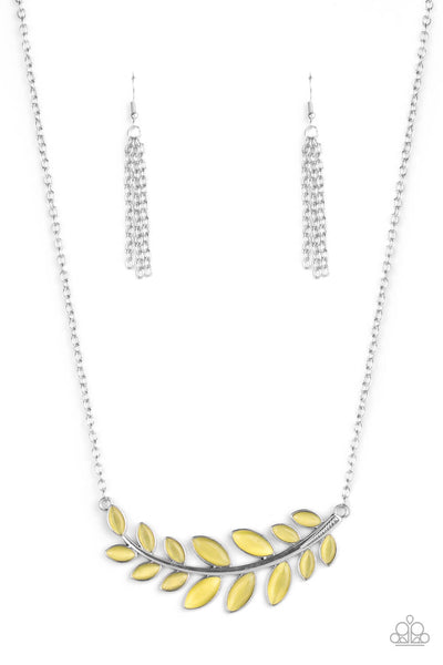 Paparazzi Frosted Foliage - Yellow Necklace Set - Princess Glam Shop
