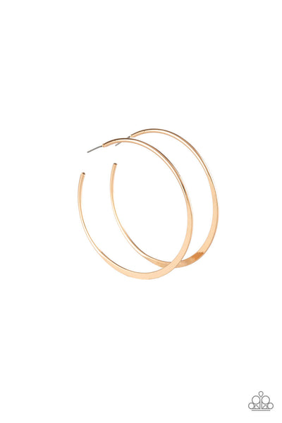 Paparazzi Hoop Hero - Gold Flattened Hoop Earrings - Princess Glam Shop