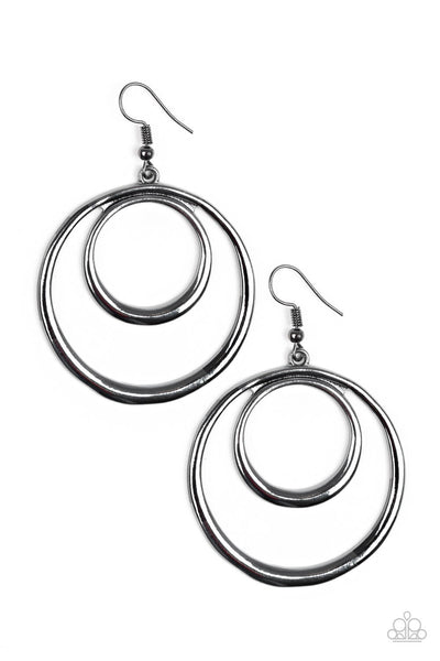 Paparazzi Put Your SOL Into It - Black Gunmetal Double Hoop Earrings - Princess Glam Shop