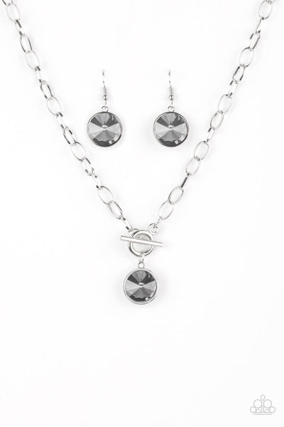 Paparazzi She Sparkles On - Silver Necklace Set & Bracelet Combo - Princess Glam Shop