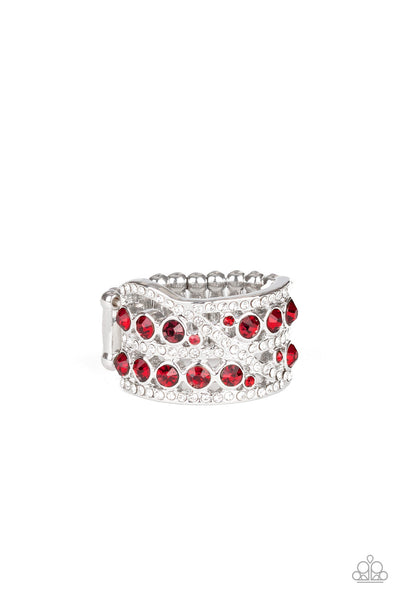 Paparazzi Elegant Effervescence - Red Ring - Princess Glam Shop