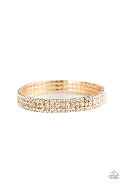 Paparazzi Stacked Deck - Gold Bling Bracelet - Princess Glam Shop
