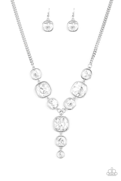 Paparazzi Legendary Luster - White Necklace Set - Princess Glam Shop