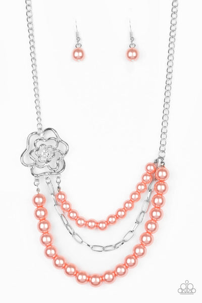 Paparazzi Fabulously Floral - Orange Necklace set - Princess Glam Shop