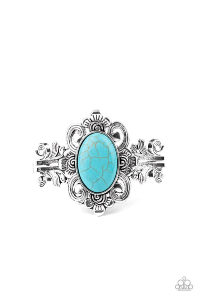 Paparazzi Mojave Mystic - Blue Turquoise Hinged Bracelet LIFE OF THE PARTY EXCLUSIVE Bracelet - Princess Glam Shop