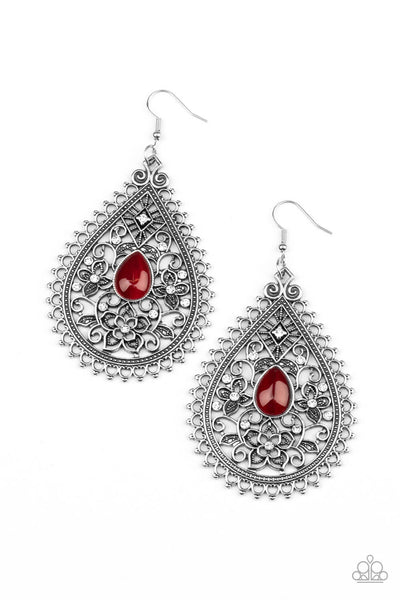 Paparazzi Eden Glow - Red Earrings - Princess Glam Shop