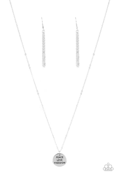 Paparazzi Freedom Isnt Free - Silver Necklace Set - Princess Glam Shop