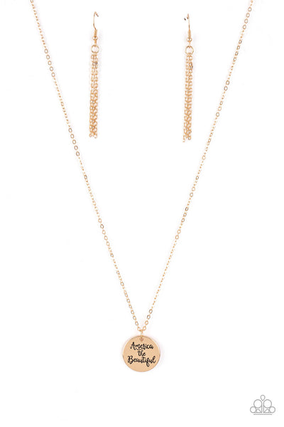 Paparazzi America The Beautiful Necklace Set - Gold - Princess Glam Shop