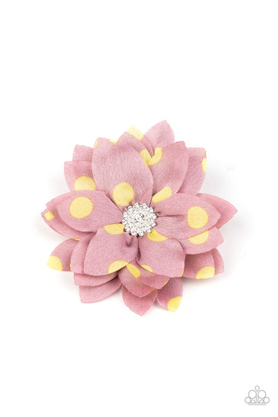 Silk Gardens - Pink & Yellow Hair Bow - Princess Glam Shop