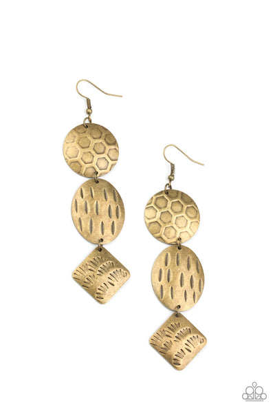 Paparazzi Mixed Movement - Brass Earrings - Princess Glam Shop