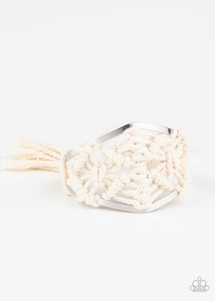 Paparazzi Macramé Mode White Bracelet LIFE OF THE PARTY EXCLUSIVE - Princess Glam Shop