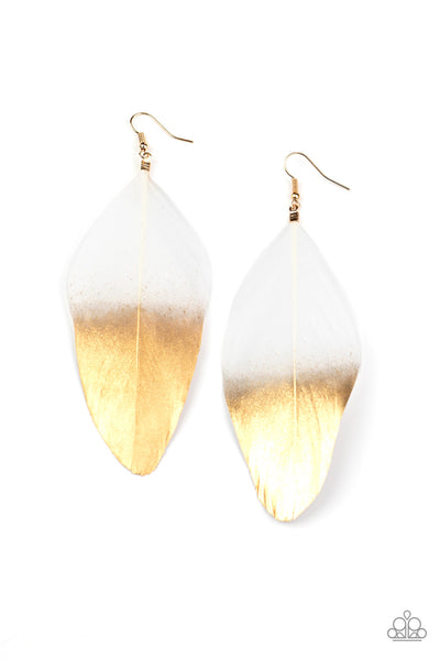 Paparazzi Fleek Feathers - White / Gold Feather Earrings - Princess Glam Shop