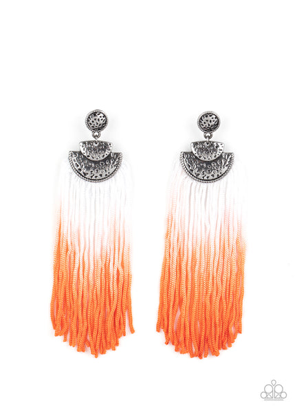 Paparazzi DIP It Up - Orange Fringe Ombre Earrings - Princess Glam Shop