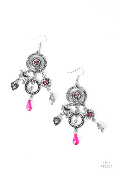 Paparazzi Springtime Essence - Pink Earrings - Princess Glam Shop