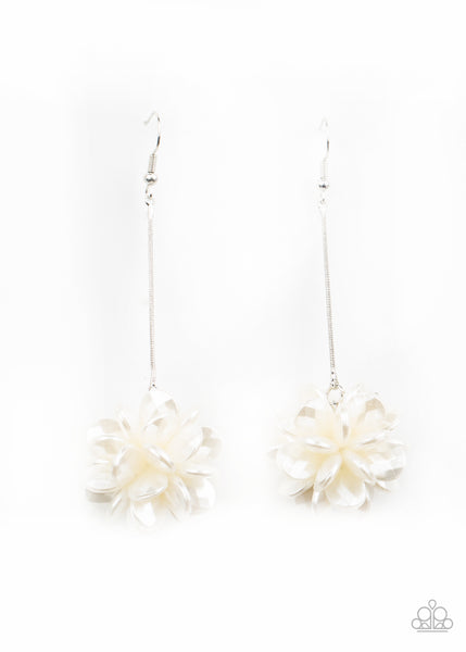 Paparazzi Swing Big White Earrings Life of the Party Exclusive - Princess Glam Shop