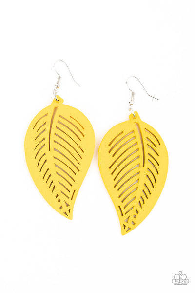 Paparazzi Tropical Foliage - Yellow Earring - Princess Glam Shop