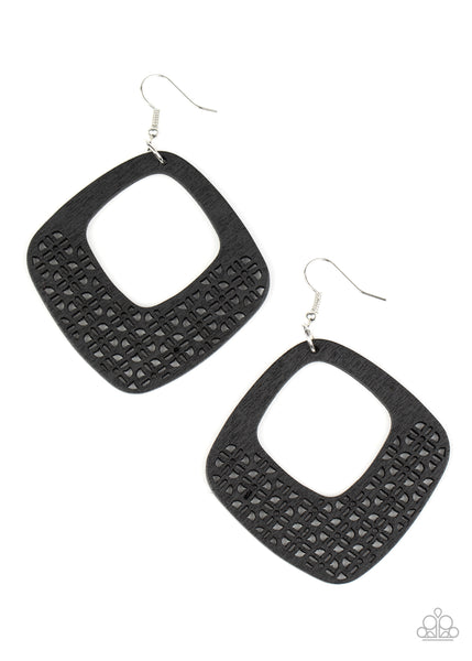 Paparazzi WOOD You Rather - Black Earrings - Princess Glam Shop