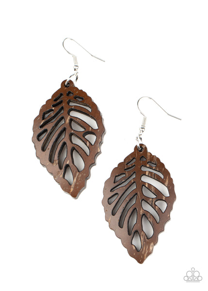 Paparazzi LEAF Em Hanging - Brown Wood Earrings - Princess Glam Shop