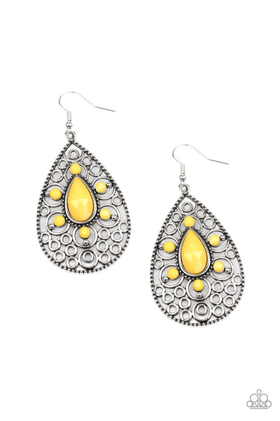 Paparazzi Modern Garden - Yellow Earrings - Princess Glam Shop