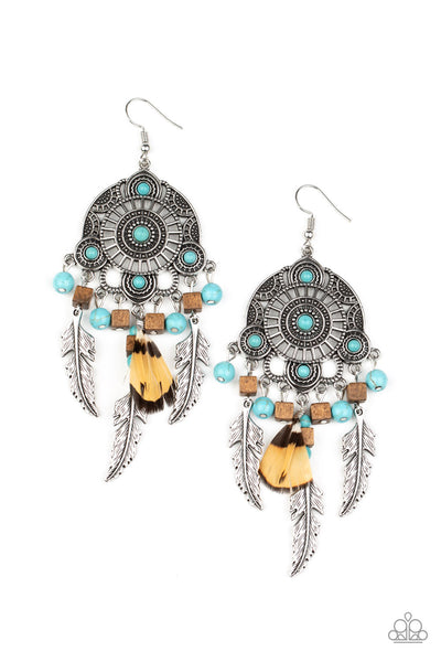 Paparazzi Desert Plains Blue Feather Earrings Life of the Party Exclusive - Princess Glam Shop