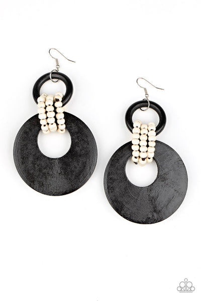 Paparazzi Beach Day Drama - Black Wood Earrings - Princess Glam Shop