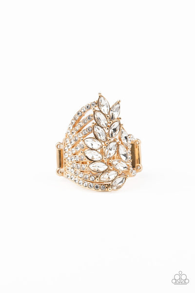 Paparazzi Clear Cut Cascade Gold Ring Life of the Party Exclusive - Princess Glam Shop
