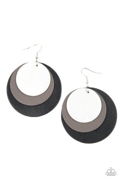Paparazzi LEATHER Forecast - Black Leather Earrings - Princess Glam Shop