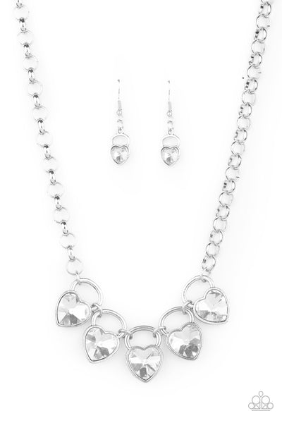 Paparazzi Heart On Your Heels White Necklace Set Life of the Party Exclusive - Princess Glam Shop