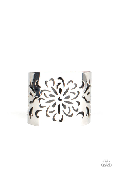 Paparazzi Get Your Bloom On - Black & Silver Cuff Bracelet - Princess Glam Shop