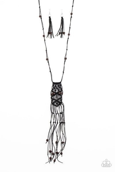 Paparazzi Macrame Majesty - Black Necklace - Princess Glam Shop