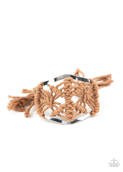 Paparazzi Macrame Mode - Brown Cuff Bracelet - Princess Glam Shop