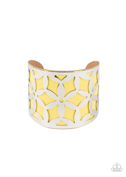 Paparazzi Garden Fiesta - Yellow Cuff Bracelet - Princess Glam Shop