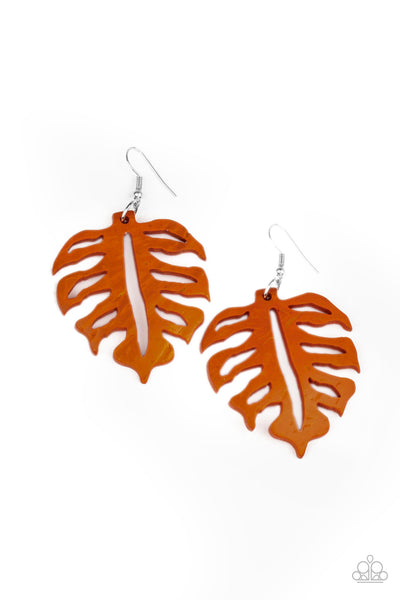 Paparazzi Shake Your PALMS PALMS - Orange Wood Earrings - Princess Glam Shop