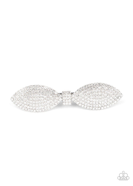 Paparazzi Mind-BOWing Sparkle - White Hair Clip - Princess Glam Shop