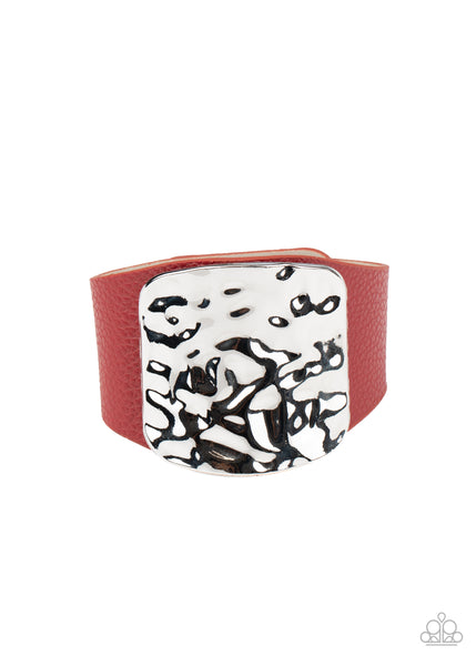 Paparazzi Brighten Up - Red Leather Snap Bracelet - Princess Glam Shop