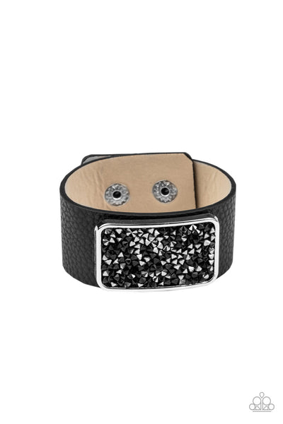 Paparazzi Interstellar Shimmer - Black Leather Snap Bracelet - Princess Glam Shop