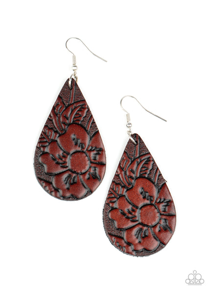 Paparazzi Beach Garden - Brown Leather Earrings - Princess Glam Shop