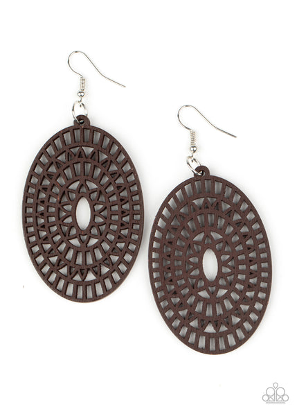 Paparazzi Tropical Retreat - Brown Wood Earrings - Princess Glam Shop