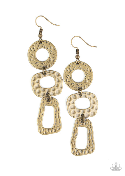 Paparazzi Prehistoric Prowl - Brass Earrings - Princess Glam Shop