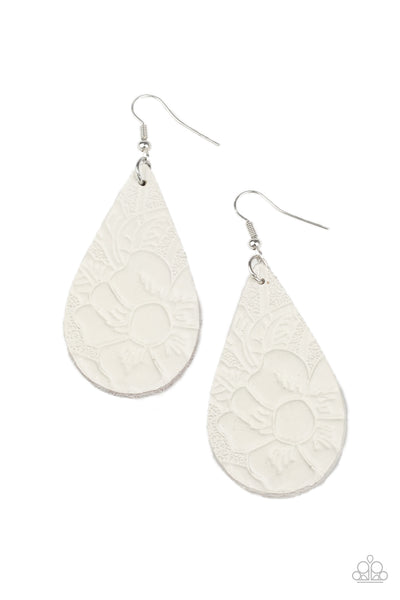 Paparazzi Beach Garden - White Leather Earrings - Princess Glam Shop