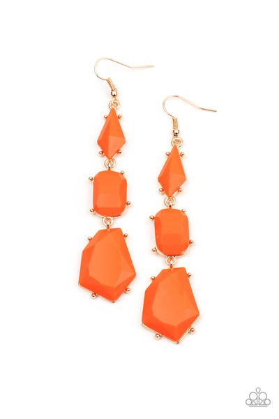 Paparazzi Geo Getaway - Orange Earrings - Princess Glam Shop