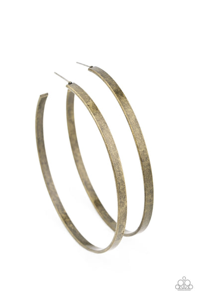 Paparazzi Lean Into The Curves - Brass Hoop Earrings - Princess Glam Shop