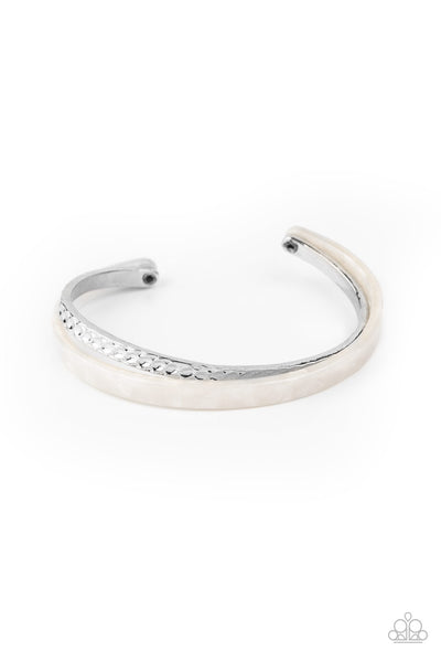 Paparazzi HAUTE On The Trail - White Cuff Bracelet - Princess Glam Shop