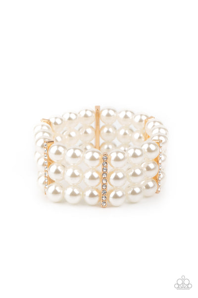 Paparazzi Modern Day Majesty - Gold White Pearl Bracelet - Princess Glam Shop
