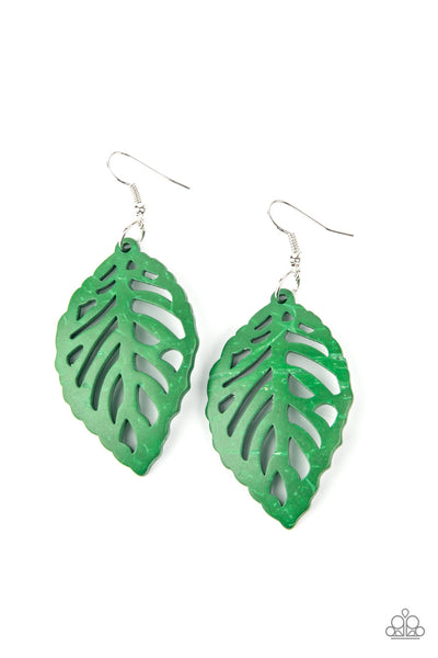 Paparazzi LEAF Em Hanging - Green Wood Earrings - Princess Glam Shop