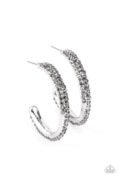 Trail Of Twinkle - Silver Hoop Earrings - Princess Glam Shop