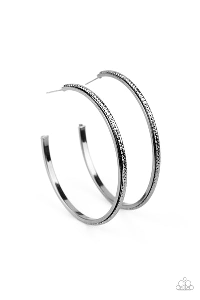 Paparazzi Sultry Shimmer - Black Hoop Earrings - Princess Glam Shop