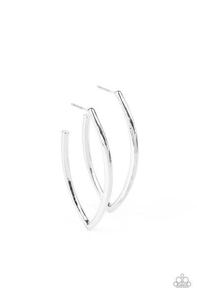 Paparazzi Point-Blank Beautiful - Silver Hoop Earrings - Princess Glam Shop